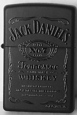 Zippo Windproof Black Matte Lighter With Black Jack Daniels Logo, 46813, NIB