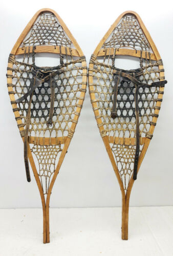 """Antique Vintage 14"""" X 41"""" Snowshoes Usable or Decor - Free Shipping"""