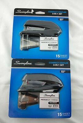 Swingline Compact Stapler 3-in-1 Bonus Pack Brand New Lot Of 2