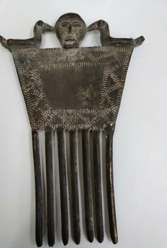 Antique African Bronze Hair Comb