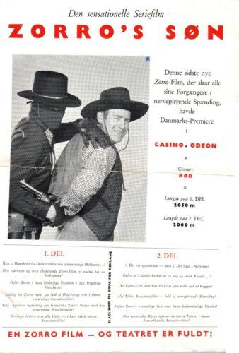 Son Of Zorro George Turner Peggy Stewart 1947 Vtg Danish Movie Press Release