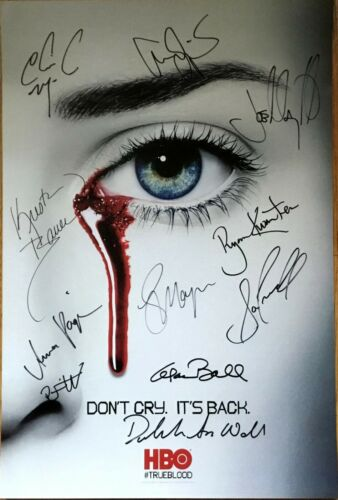 True Blood cast signed 2012 SDCC poster Kwanten Moyer Paquin Skarsgard Trammell