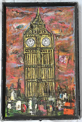 Original Charles C. Long (American b. 1958) Mixed Media Big Ben Clock Tower