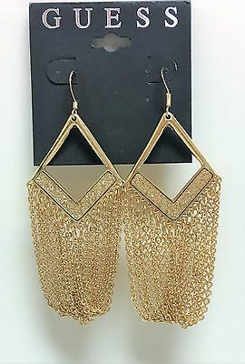 NEW GUESS GOLD TONE MULTI STRAND CHAIN,CHANDELIER STYLE FISH HOOK EARRINGS