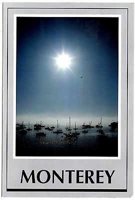 Monterey California Postcard Sailboats Bay Misty Morning Sunrise Boats Posted 98
