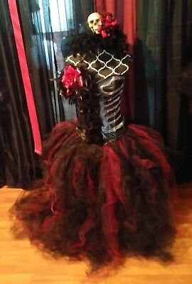 DIA DE LOS MUERTOS,day of the dead inspired corset costume L