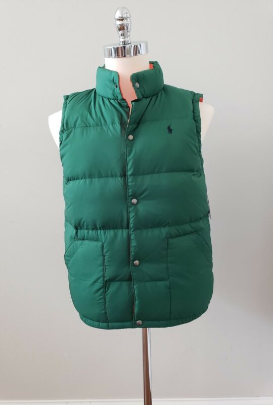 NWT Polo Ralph Lauren  BOYS REVERSIBLE DOWN VEST ,GRREN/ORANGE, M/L/XL #X