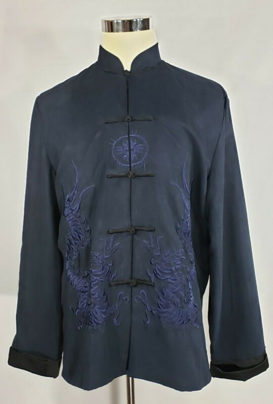 Beijiasi - Navy Blue Microfiber Mandarin Jacket - Heavy Embroidered Dragons - XL