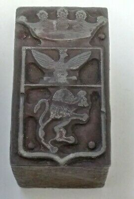 Letterpress Printing Printer Block Wood Copper Metal Type Crown Eagle Lion Crest
