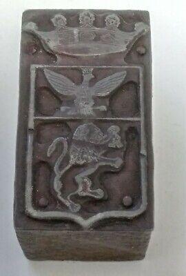 Letterpress Printing Printer Block Wood Copper Metal Type Crown Eagle Lion Crest