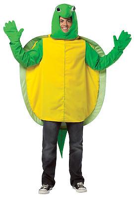 Maskottchen Erwachsene Kostüm Grün & Gelb Tunika Halloween (Schildkröte Maskottchen Kostüm)