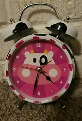 Vintage Extra Loud Alarm Clock  Analog Cow Spots Black White & Pink