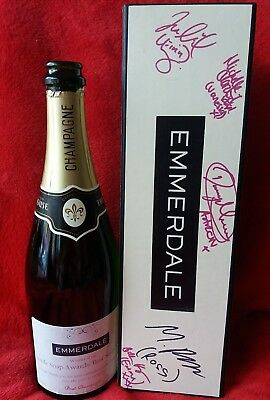 RARE Emmerdale 2015 TV Soap Awards Empty Champagne Bottle / Signed Box XMAS GIFT