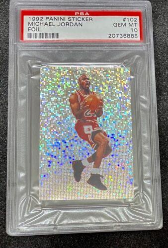 1992 Panini Sticker Foil Michael Jordan 102 PSA 10 GEM MINT - $2,500.00