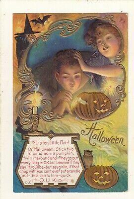 early VINTAGE EMBOSSED WITCHE-BAT- CHIRDREN- O.U.KID-HAPPY HALLOWEEN POSTCARD