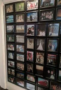 72x black photo frames glass picture set rectangular wooden wall