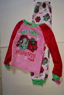 Girls Shopkins Brand Christmas 2 Piece Pajamas But First Presents SPK Size 8 10