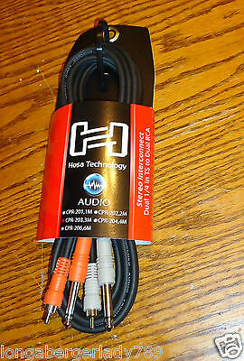HOSA DUAL 1/4 TO RCA 10' CORD CABLE CORDS CABLES PATCH CABLE STEREO PA SYSTEM IT 1/4' Rca Dual Patch Cable