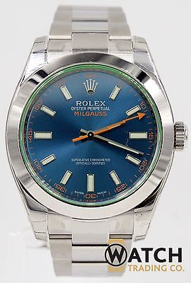 Rolex Milgauss 116400GV 40mm SS Blue Dial Green Crystal Box Included.