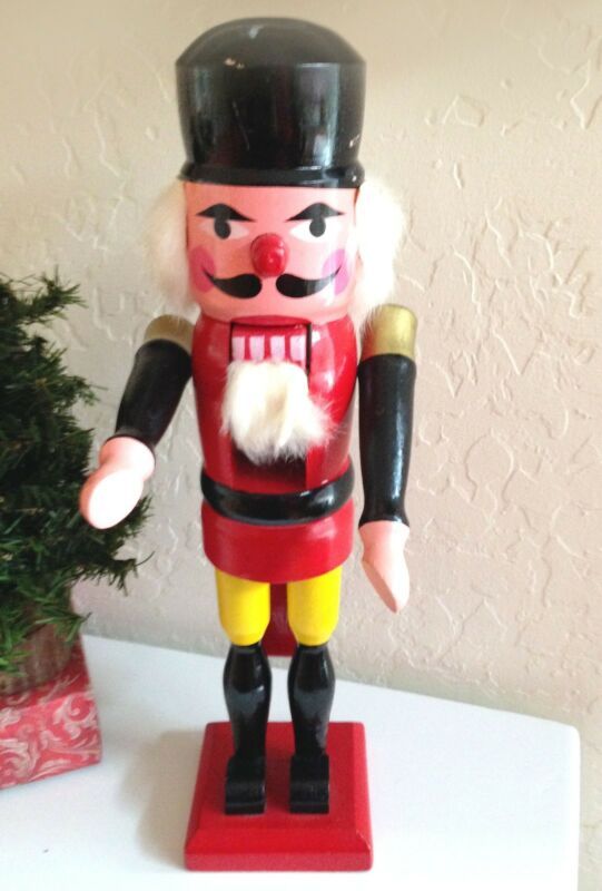 Vintage Retro Christmas Wooden Nutcracker Soldier Red Paint Fur Beard 13in