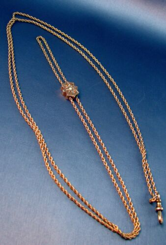 """Huge 48"""" Antique10k Solid Gold Pocket Watch Fob Chain With Opal & Pearl Slide"""