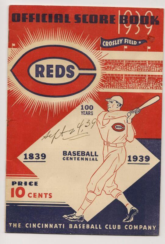 1939 Cincinnati Reds-Pirates Program Derringer Wins 24th NICE!!