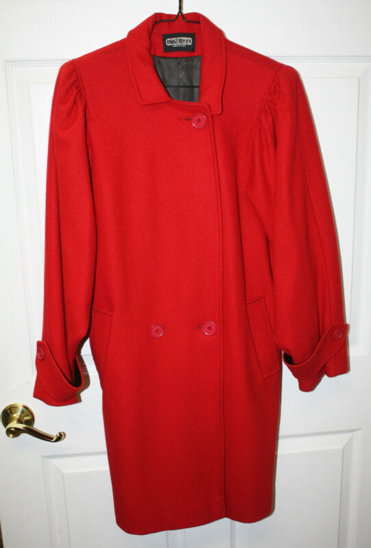 Womens Ladies Vintage Anne-Gee Red Wool Coat Size Large