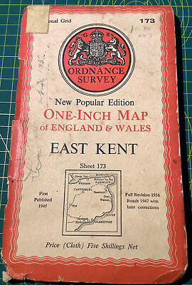 """EAST KENT"" Vintage Ordnance Survey 'New Popular Edition One Inch Map"