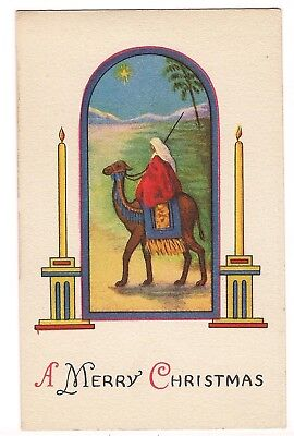 A MERRY CHRISTMAS Religious Figure Riding Camel, Candles Star Postcard J.P. N.Y. ()