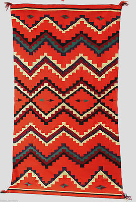 """c.1880s Navajo GERMANTOWN Blanket / Rug LARGE! 87""""x49"""" -- A """"10"""" Near Perfect"""