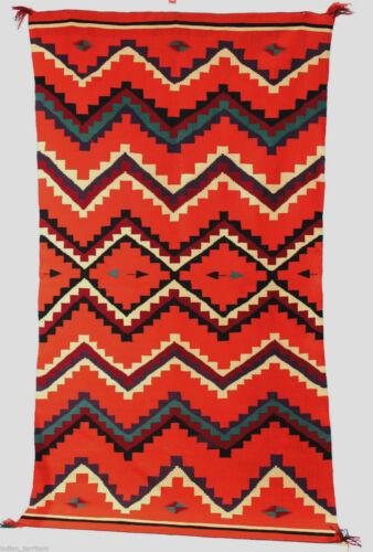 """Antique c1880 Navajo GERMANTOWN Blanket / Rug LARGE! 87""""x49"""" - A """"10""""! - Vintage"""