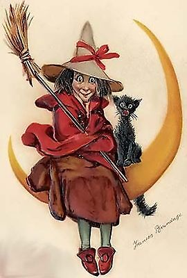 Witch On Moon~counted cross stitch pattern #1510~Holidays Halloween Graph Chart](Halloween Graphing)
