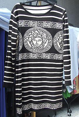 UK 12-14  BNWT Beautiful Black & Cream Medusa & Greek Key Stylish Jumper Dress L
