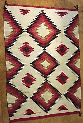 VINTAGE NAVAJO INDIAN WOOL RUG / BLANKET circa 1910 Hubbell Trading Post