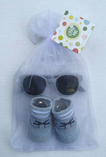 Baby Sunglasses Booties Gift Set 0-12 Months Little Me NEW Grey Gray Baby Shower