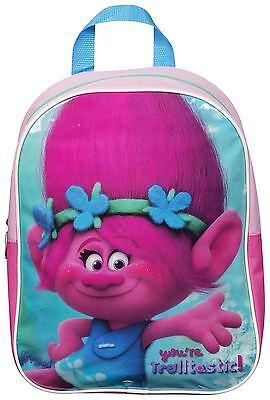 Trolls Poppy Girls Kids School Nursery Backpack Travel Rucksack Childrens Bag