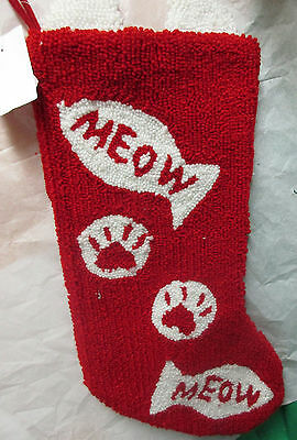 """20""""""""MEOW"""" CHRISTMAS STOCKING Punch Needle Hook Rug NEW W. TAGS"""