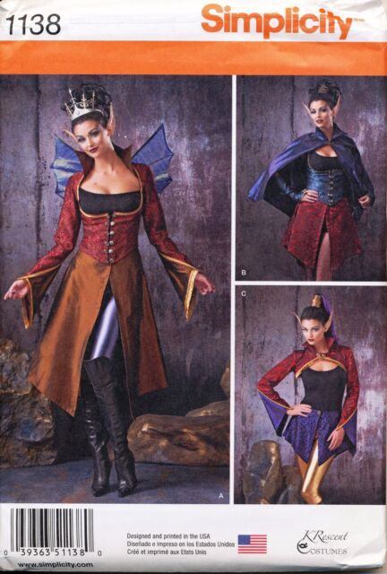 SIMPLICITY SEWING PATTERN 1138 MISSES 6-12 ELVES, DARK FAERIES, COSPLAY COSTUMES