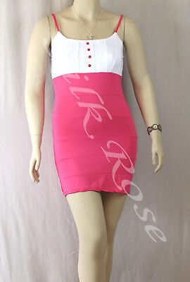 WOMENS CLOTHING SEXY LITTLE WHITE & HOT PINK SUMMER DRESS INCL PLUS SIZES
