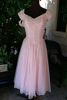 (1950s vintage party prom dress nylon pink chiffon XS full skirt princess neck )