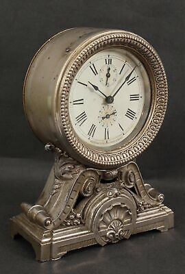 Antique Circa 1910 SETH THOMAS Long Alarm Nickel Plated Shelf Mantle Clock, NR