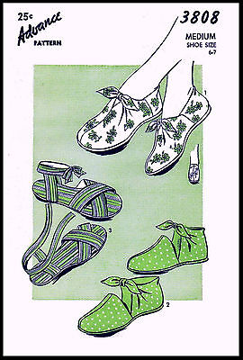 Tie-On Shoes Sandals Slipper Slippers Vintage ADVANCE 3808 Fabric Sewing Pattern, used for sale  Shipping to India