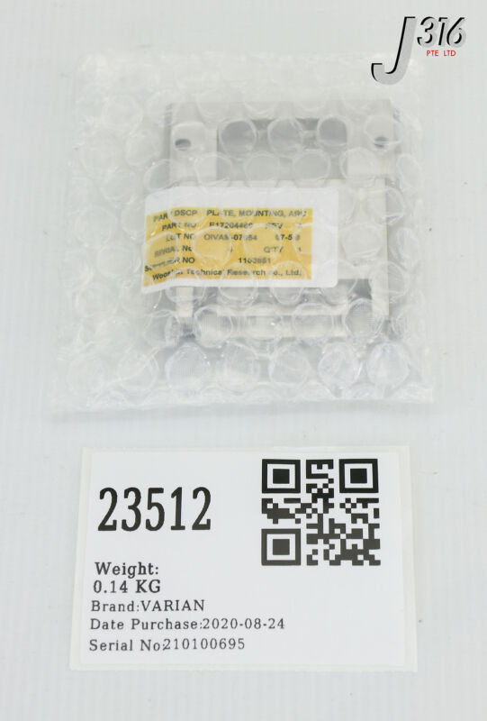 23512 Varian Plate, Mounting, Arc Chamber (new) E17204460