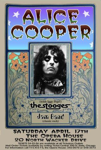 ALICE COOPER STOOGES CHICAGO CONCERT 70 by ORIGINAL POSTER ARTIST CARL LUNDGREN