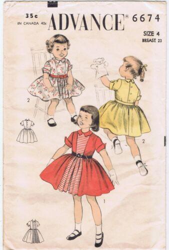 1950s Advance Pattern 6674 Girls 4 School Dress Fit Full Skirt Contrast Panel