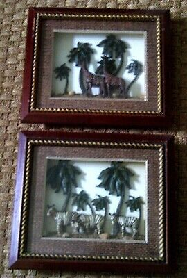 SET of 2 SHADOWBOX FRAMED AFRICAN GIRAFFE & ZEBRA DIORAMA DESIGN PICTURES!