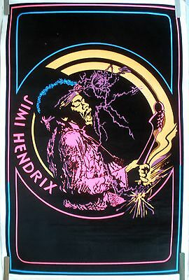 RARE JIMI HENDRIX GUITAR 1980'S VINTAGE ORIGINAL BLACK LIGHT MUSIC POSTER