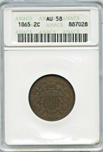 1865 2 Cent Piece  - Anacs - AU58