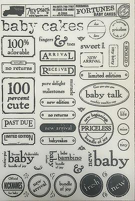 7 GYPSIES RUB ON TRANSFERS / RUBBINGS - FORTUNES - BABY CAKES