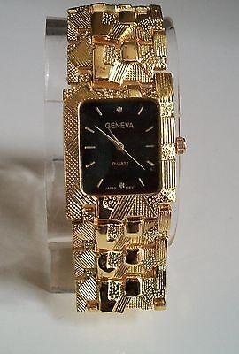 Men's Designer Inspired Geneva gold Annihilate Nugget style bracelet the latest thing watch
